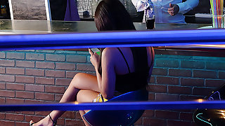 Upset girl cheats with a bartender